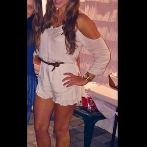 Urban Outfitters cream cold-shoulder romper
